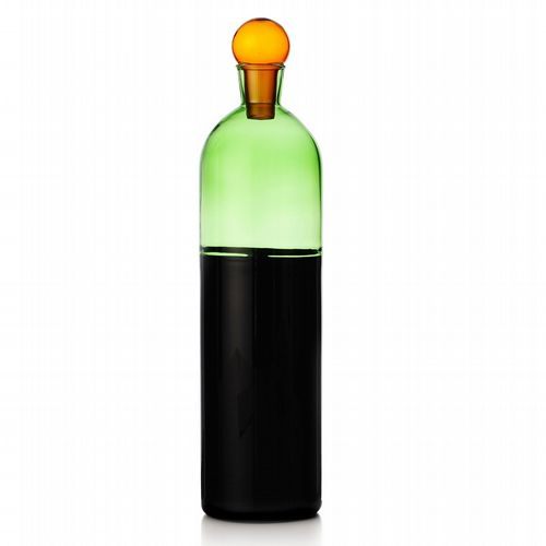 Milanese Glass - Duo-Tone Decanter -  Black & Green